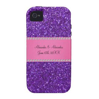 Purple glitter wedding favors vibe iPhone 4 case