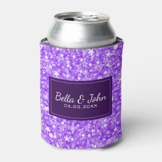 Purple Glitter With White Sparks Can Cooler