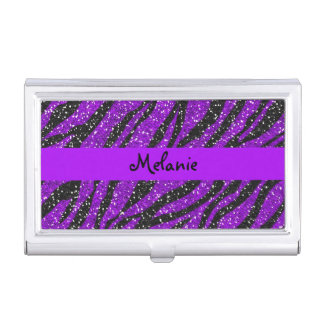 Purple Glitter Zebra Stripe Business Card Holder