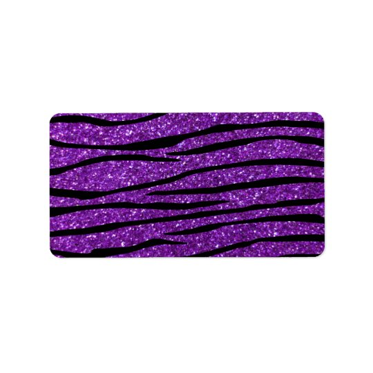 Purple glitter zebra stripes address label