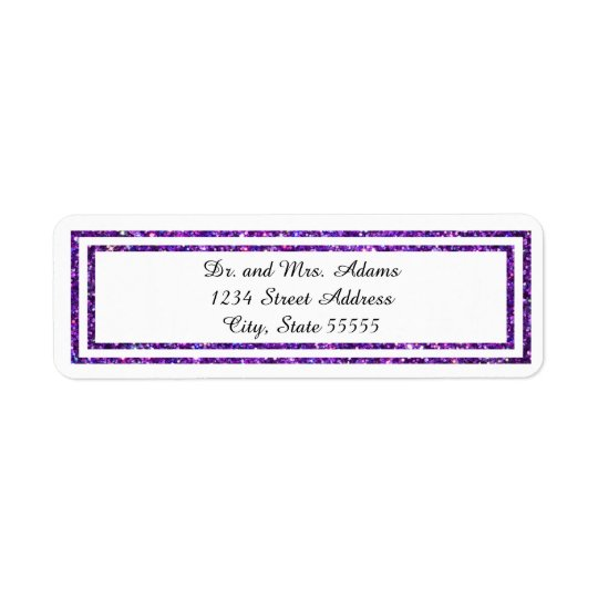 Purple Glittered Trim - Address Label