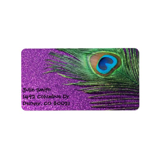 Purple Glittery Peacock Feather Still Life Address Label
