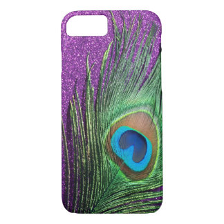 Purple Glittery Peacock Feather Still Life iPhone 8/7 Case