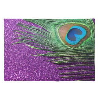 Purple Glittery Peacock Feather Still Life Placemat
