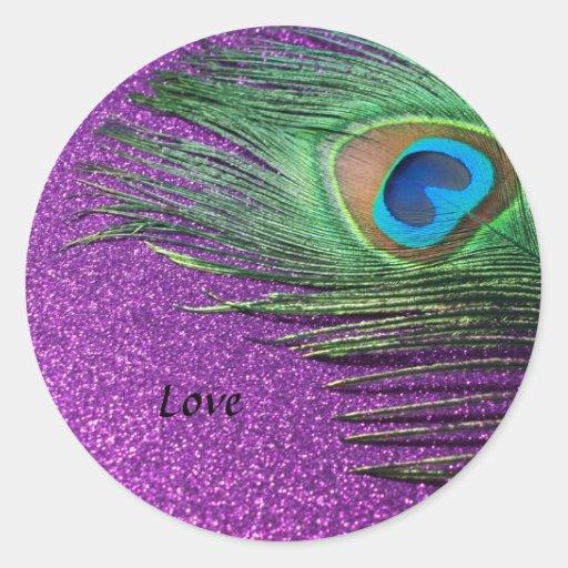Purple Glittery Peacock Feather Still Life Round Sticker