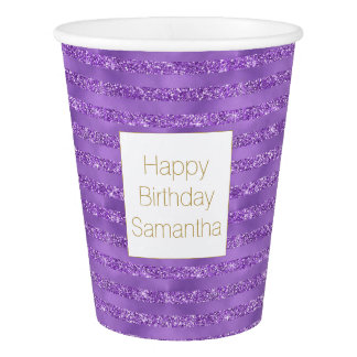 Purple Glittery Stripes Birthday Paper Cup