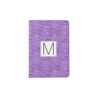 Purple Glittery Stripes Monogram Passport Holder