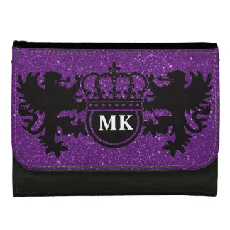 Purple Glitz Lion Crest Monogram Wallets For Women