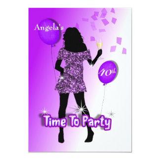 Purple Glitzy Girly Time To Party Personalized 13 Cm X 18 Cm Invitation Card