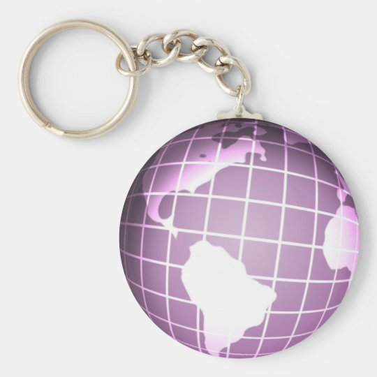 Purple Globe Basic Round Button Key Ring