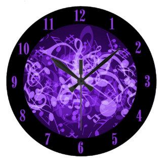 Purple Glow Music Notes Wall Clock