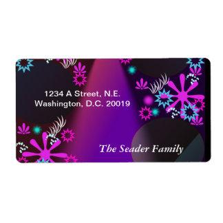 Purple Glow Personalized Return Address Shipping Label