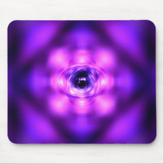 Purple glowing atom mouse pad