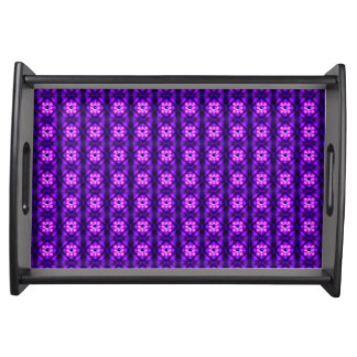 Purple glowing atom pattern serving tray