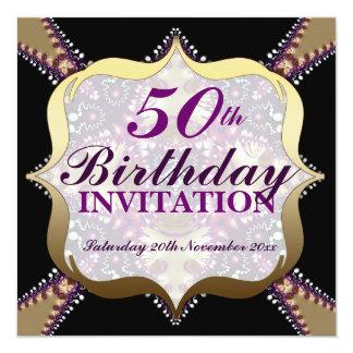 Purple+Gold 50th Birthday Celebrations 13 Cm X 13 Cm Square Invitation Card