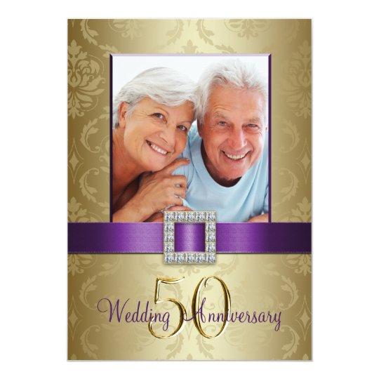 Purple Gold 50th Wedding Anniversary Invitation