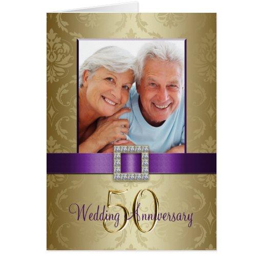 Purple Gold 50th Wedding Anniversary Invitation 2 Greeting Cards