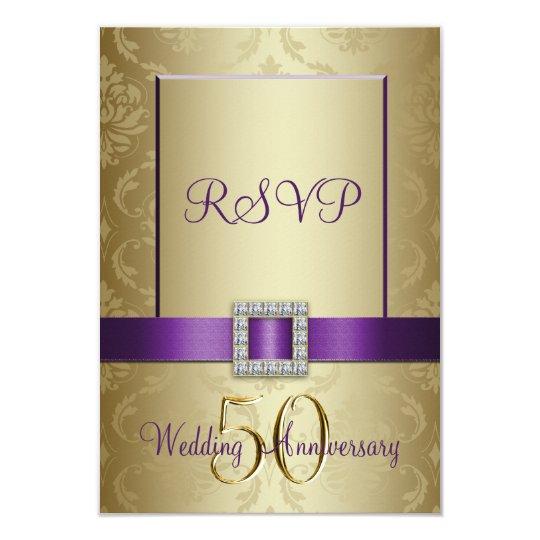 Purple Gold 50th Wedding Anniversary RSVP Card