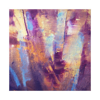 Purple & Gold Abstract Oil Painting Metallic Stretched Canvas Print