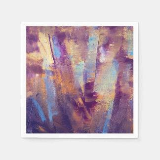 Purple & Gold Abstract Oil Painting Metallic Disposable Serviette
