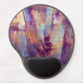 Purple & Gold Abstract Oil Painting Metallic Gel Mouse Pad