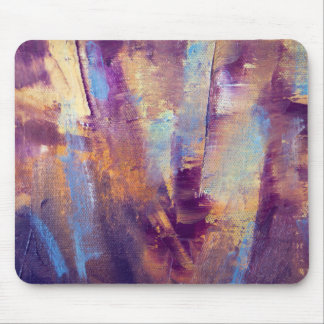 Purple & Gold Abstract Oil Painting Metallic Mouse Pad