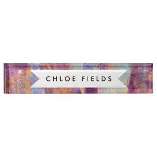 Purple & Gold Abstract Oil Painting Metallic Nameplate