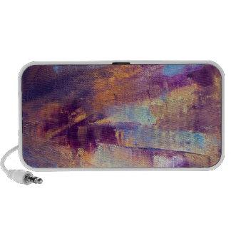 Purple & Gold Abstract Oil Painting Metallic iPhone Speaker