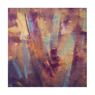 Purple & Gold Abstract Oil Painting Metallic Wood Canvases