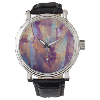 Purple & Gold Abstract Oil Painting Metallic Wristwatch
