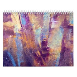 Purple & Gold Abstract Oil Painting Metallic Wall Calendar
