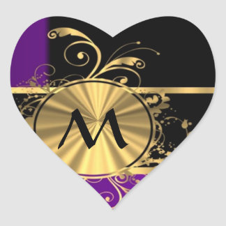 Purple gold and black monogram heart sticker