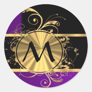 Purple gold and black monogram round sticker
