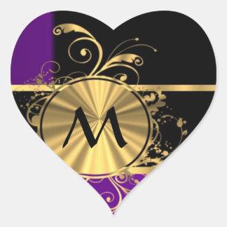 Purple gold and black monogram heart sticker