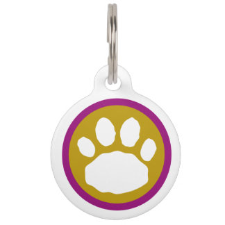Purple, Gold, and Green Animal Paw Print Pet Tag