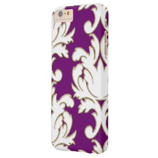Purple Gold And White Damask Barely There iPhone 6 Plus Case