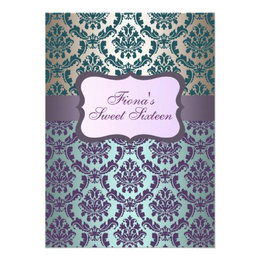 Purple Gold & Aqua Damask Birthday Invite