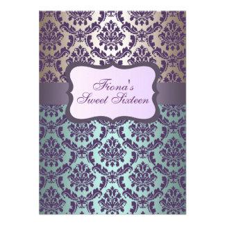 Purple Gold & Blue Damask Birthday Invite