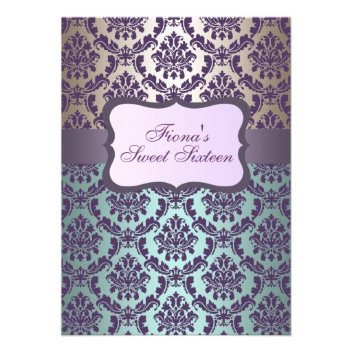 Purple Gold & Blue Damask Birthday Invite
