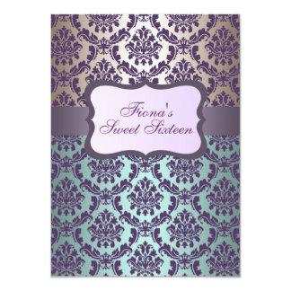 "Purple Gold & Blue Damask Birthday Invite 4.5"" X 6.25"" Invitation Card"
