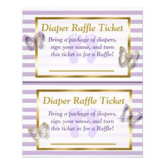 Purple & Gold Butterfly Baby Shower Diaper Raffle Flyer