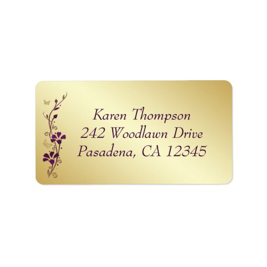 Purple, Gold Butterfly Floral Return Address Label