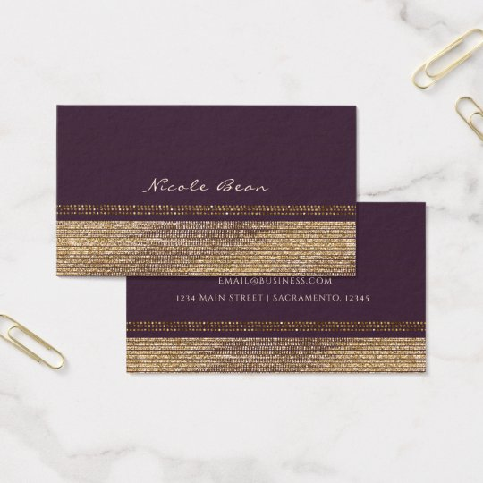 Purple Gold Chic Sparkling Glam Elegant Custom Business
