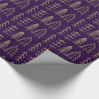 Purple Gold Christmas Trees Pattern Modern Wrapping Paper