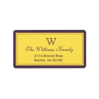 Purple & Gold Classic Border Address Label