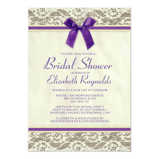 Purple Gold Country Lace Bridal Shower Invitations