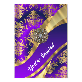 Purple & gold damask 13 cm x 18 cm invitation card