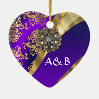 Purple & gold damask christmas ornament