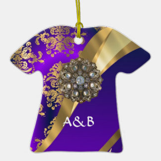 Purple & gold damask christmas ornaments