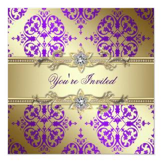Purple Gold Damask Purple Party Card